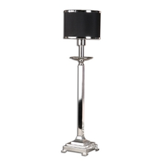 Modern Console & Buffet Lamp with Black Shade in Silver Plated Finish