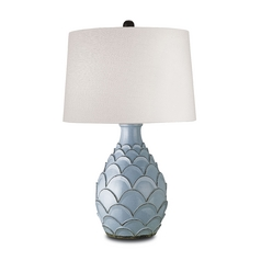 Table Lamp with White Shade in Baby Blue Finish