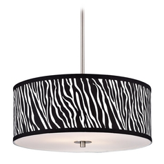 Drum Pendant Light with Zebra Print Shade