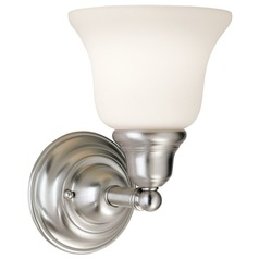 Transitional Sconce Satin Nickel with White Bell Glass