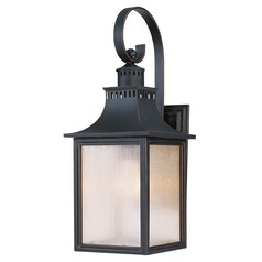 Pale Cream Seeded Glass Outdoor Wall Light Black Savoy House