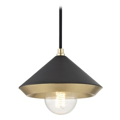 Mid-Century Modern Mini-Pendant Light Brass Mitzi Marnie by Hudson Valley