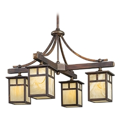Kichler Chandelier with Beige / Cream Glass in Canyon View Finish
