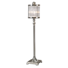 Modern Console & Buffet Lamp with Clear Glass in Silver Plated Finish