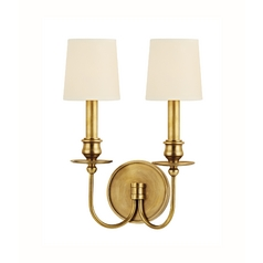 Sconce Wall Light with Beige / Cream Paper Shades in Aged Brass Finish