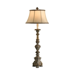 Table Lamp with Beige / Cream Shade in Smoke Bronze Finish