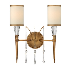 Sconce Wall Light with Beige / Cream Shades in Brushed Bronze Finish