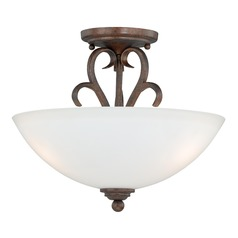Hartford Weathered Patina Semi-Flushmount Light by Vaxcel Lighting