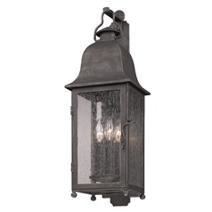 Seeded Glass Outdoor Wall Light Pewter Troy Lighting