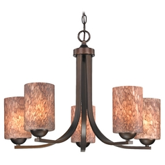 Modern Chandelier with Brown Art Glass in Bronze Finish