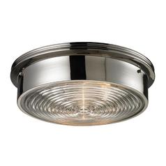 Modern Flushmount Light in Polished Nickel Finish