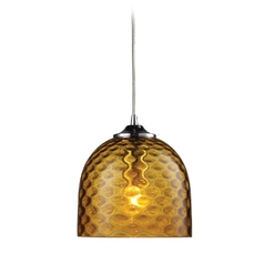 Elk Lighting Mini-Pendant Light with Amber Glass 31080/1AMB