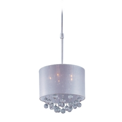 Modern Drum Pendant Light with Silver Shade in Polished Chrome Finish