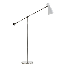 Mid-Century Modern Floor Lamp Polished Nickel Jonathan Adler Havana by Robert Abbey