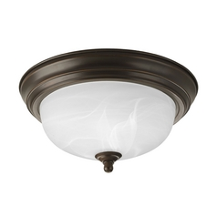 Progress Lighting Progress Flushmount Light with Alabaster Glass in Bronze Finish P3924-20