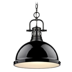Golden Lighting Duncan Black Pendant Light with Gloss Black Shade