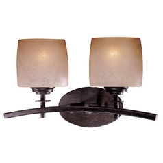 Minka Lighting Modern Bathroom Light with Beige / Cream Glass in Iron Oxide Finish 6182-357