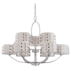 Modern Chandelier with Grey Shades in Polished Nickel Finish