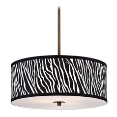 Design Classics Lighting Modern Drum Pendant Light with Zebra Print Shade DCL 6528-604 SH9465