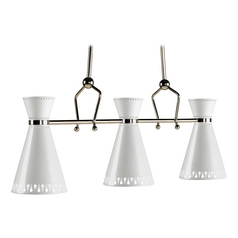 Mid-Century Modern Pendant Light Polished Nickel Jonathan Adler Havana by Robert Abbey