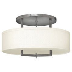 Modern Semi-Flushmount Light with White Shade in Antique Nickel Finih