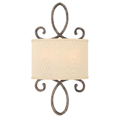 Sconce Wall Light with Gold Shade in Brushed Merlot Finish