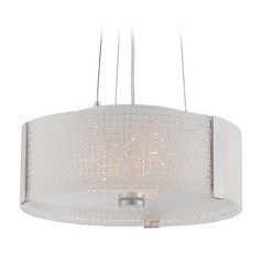 Lite Source Maso Chrome Pendant Light with Drum Shade
