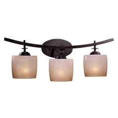 Minka Lighting Modern Bathroom Light with Beige / Cream Glass in Iron Oxide Finish 6183-357
