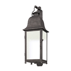 Outdoor Wall Light with White Glass in Aged Pewter Finish