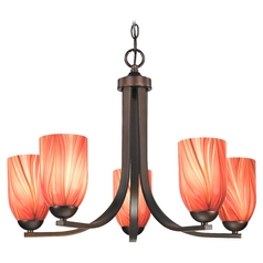 Modern Chandelier with Red Glass in Bronze Finish