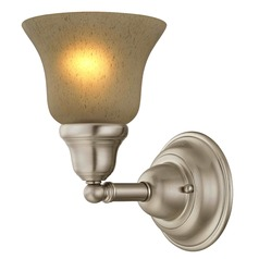 Traditional Sconce Satin Nickel with Amber Bell Glass