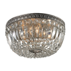 Crystal Flushmount Light in Sunset Silver Finish