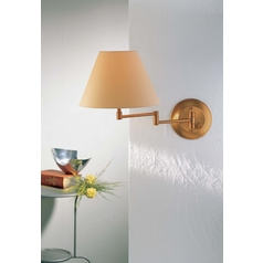Holtkoetter Swing Arm Lamp with Beige / Cream Shade in Antique Brass Finish