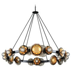 Corbett Lighting Magic Garden Black Graphite Bronze Leaf Chandelier