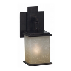Modern Sconce Wall Light with Amber Glass in Oil Rubbed Bronze Finish