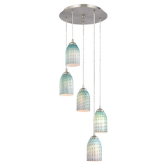 Design Classics Lighting Multi-Light Pendant with Turquoise Art Glass and Five Lights 580-09 GL1003D
