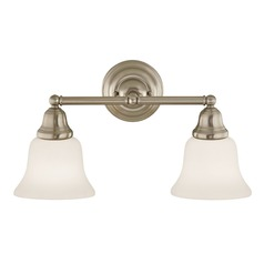 Transitional 2-Light Bathroom Light Satin Nickel
