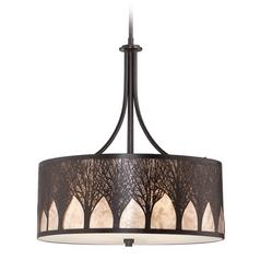 Quoizel Lighting Quoizel Lighting Mica Imperial Bronze Pendant Light with Drum Shade MC1691CIB