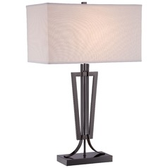 George Kovacs Gun Metal Table Lamp with Rectangle Shade