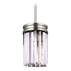 Sea Gull Lighting Carondelet Antique Brushed Nickel LED Mini-Pendant Light with Cylindrical Shade