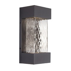 Modern Graphite LED Outdoor Wall Light with Art Glass 3000K 1210LM