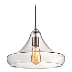 Minka Brushed Nickel Mini-Pendant Light with Clear Glass Shade