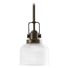 Farmhouse Mini-Pendant Light Prismatic Glass Bronze Archie by Progress Lighting