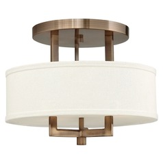 Modern Semi-Flushmount Light with White Shade in Brushed Bronze
