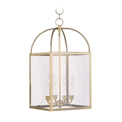 Livex Lighting Milford Antique Brass Pendant Light with Square Shade