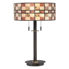 Quoizel Lighting Mica Western Bronze Table Lamp with Drum Shade