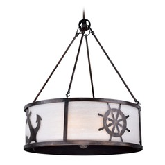 Frosted Seeded Glass Pendant Light Bronze Vaxcel Lighting