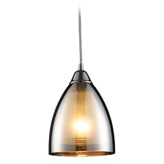 Elk Lighting Modern Mini-Pendant Light with Brown Glass 10073/1