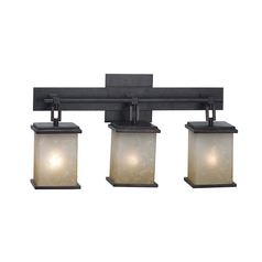 Modern Bathroom Light with Amber Glass in Oil Rubbed Bronze Finish