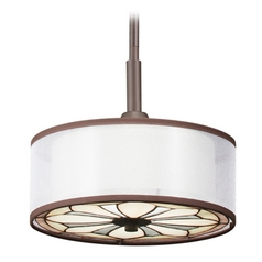 Kichler Drum Pendant Light with Art Glass in Olde Bronze Finish